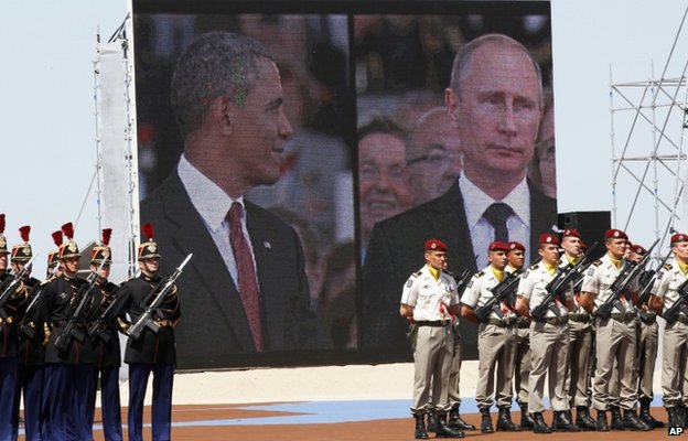 Split screen at the D-Day commemorations showing US President Barack Obama and Russian President Vladimir Putin
