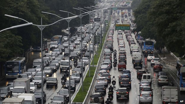 Traffic jam during Sao Paulo strike, Friday