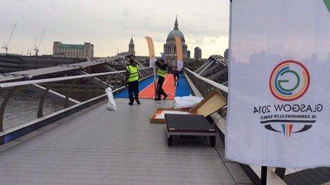 Glasgow 2014 celebrations on Millennium Bridge, London