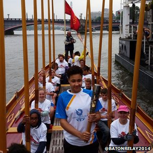 Baton-bearer on the Thames