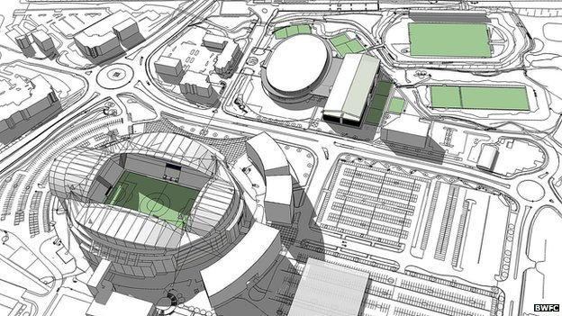 Artist's impression of the redevelopment around the Reebok Stadium