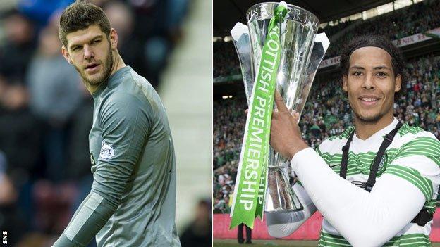 Celtic goalkeeper Fraser Forster (left) and Virgil van Dijk