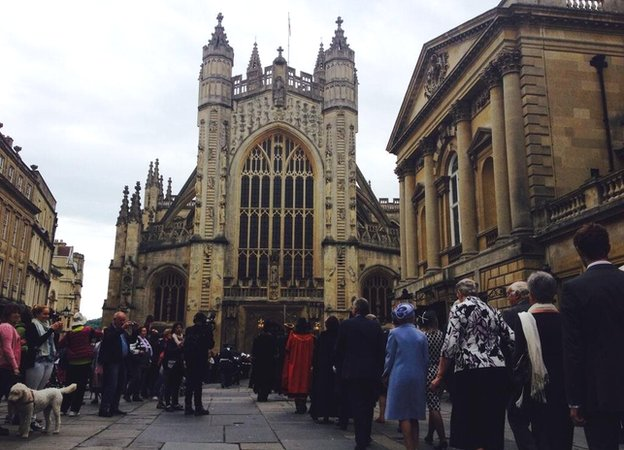 Mary Berry approaches Bath Abbey on the day she is given the freedom of the city