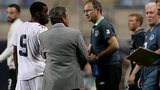 Republic manager Martin O'Neill is greeted by Costa Rica manager Jorge Luis Pinto
