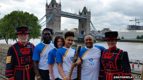 Kace Barltey with yeomen at the Tower of London