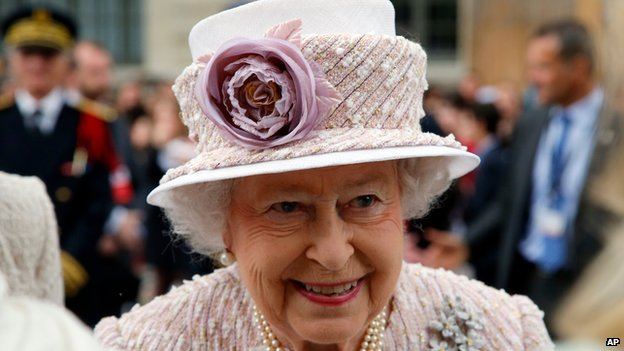 The Queen smiling during her state visit to France