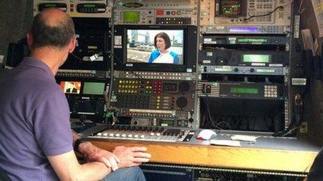 Inside BBC sat truck