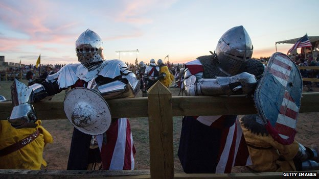 Two medieval knights from the US