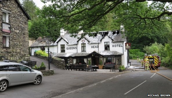 The Queen's Head hotel after a fire