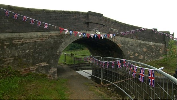 bridge with bunting