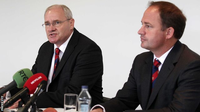 Ulster Rugby's chief executive officer Shane Logan with outgoing director of rugby David Humphreys