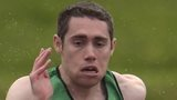 Jason Smyth battles in the rain at the Northern Ireland Athletics Championship on Saturday