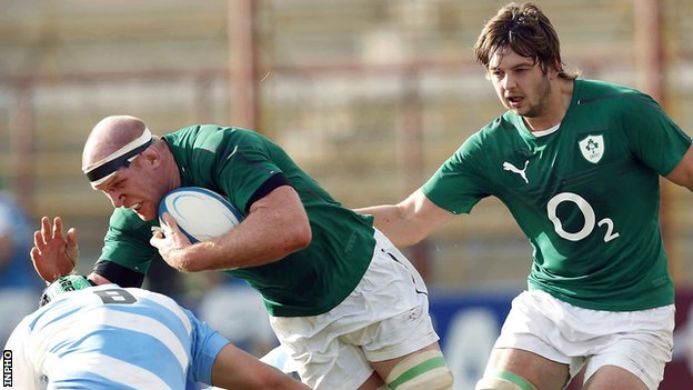Ireland captain Paul O'Connell produces a charge on his 100th Test cap