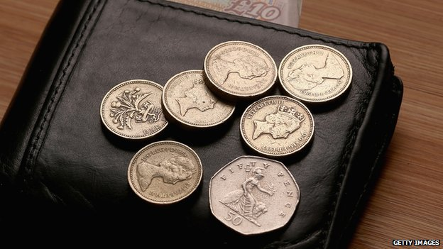 Coins totalling £6.50, the new minimum wage from October