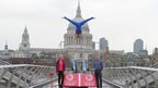 Rebecca Adlington, Louis Smith and Sir Chris Hoy pose on the Millennium Bridge