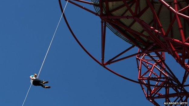 Sir Matthew Pinsent abseiling down Orbit