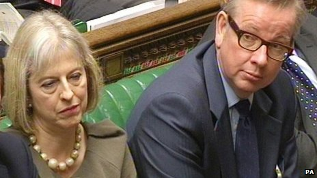 Home Secretary Theresa May and Education Secretary Michael Gove in the Commons