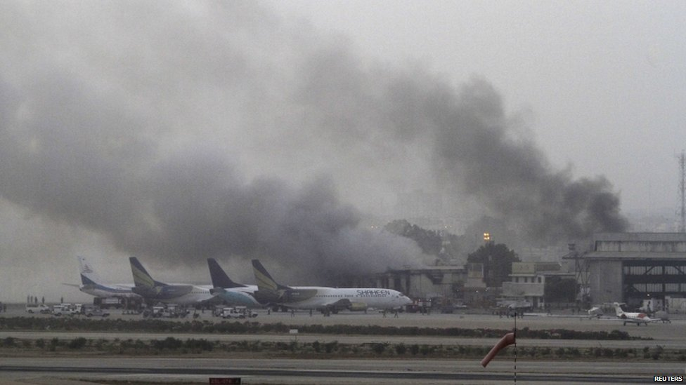 Smoke billows from Karachi airport