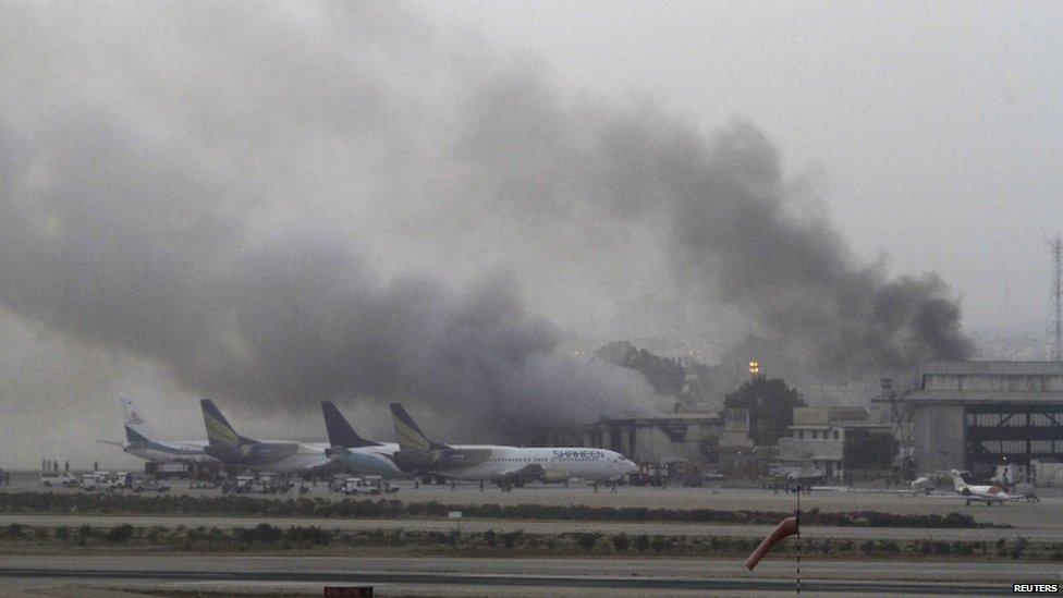 Smoke billows from Karachi airport
