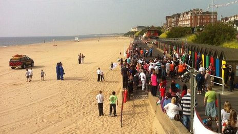 Fun run on Lowestoft beach