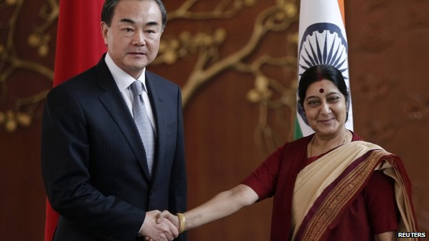 Chinese foreign minister Wang Yi (left) met his counterpart Sushma Swaraj on Sunday