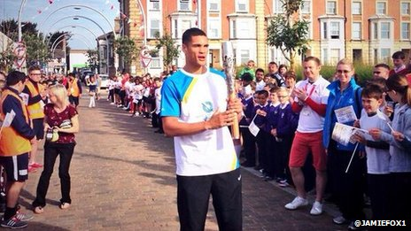 Anthony Ogogo with the baton in Lowestoft