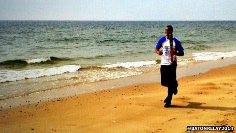 Anthony Ogogo runs on Lowestoft beach