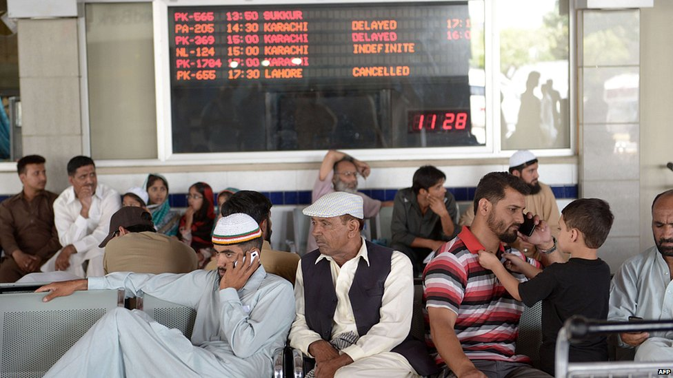 Delayed passengers at Islamabad airport. 9 June 2014