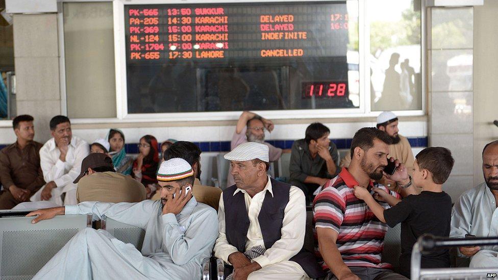 Delayed passengers at Islamabad airport. 9 June 2014