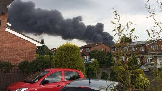 Black smoke from a fire in Groby, Leicestershire