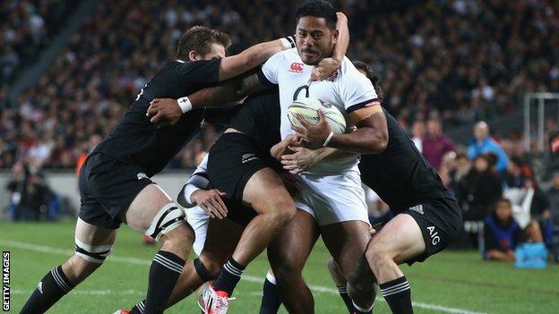 Manu Tuilagi of England against the All Blacks of New Zeland