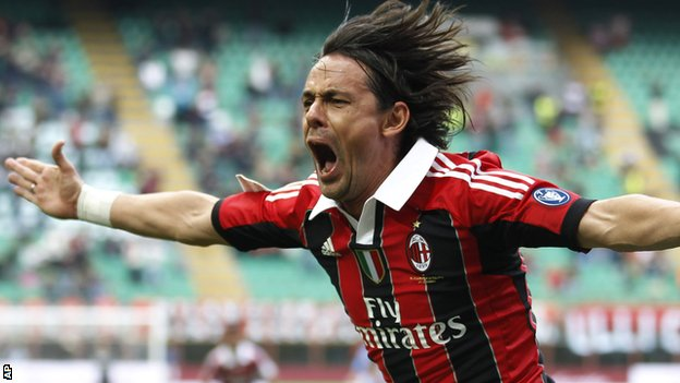 Filippo Inzaghi won two Serie A titles as a player with AC Milan