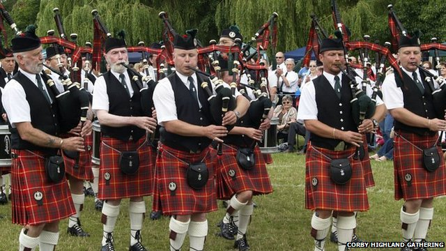 Pipers at the Corby Highland Gathering