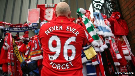 Liverpool fan wearing Justice for 96 shirt