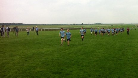 Relay race at Newmarket racecourse