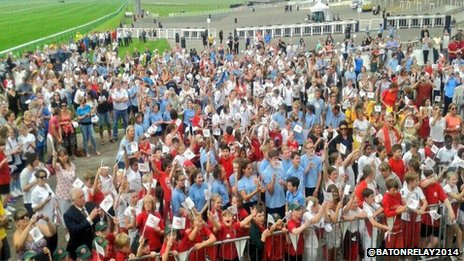 Crowds welcoming the Queen's Baton Relay in Newmarket