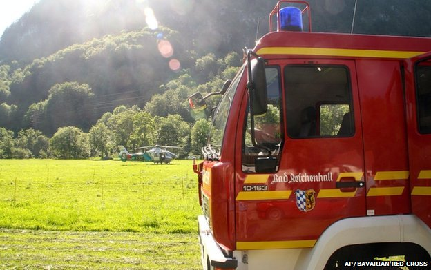 Fire engine and helicopter in valley near Berchtesgaden
