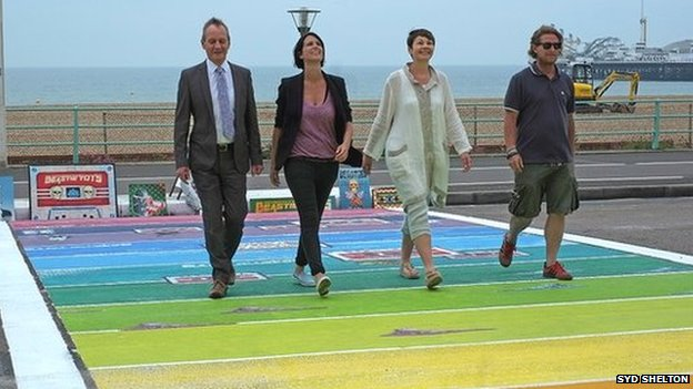 Trevor Love, Senior Ceremonies Registrar, Brighton and Hove, Heather Peace, Caroline Lucas, MP for Brighton Pavilion and Neil Sykes, owner of Modern World Gallery