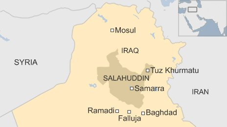 Map of Iraq showing Tuz Khurmatu