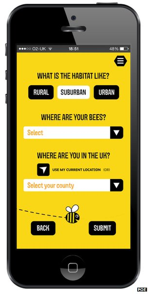 Screenshot of the bee survey app (Image: Friends of the Earth)