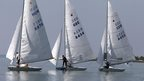Competitors of Star Class Sailing European Championships start at Balaton Lake near Balatonfoldvar town, Hungary. 9 June 2014
