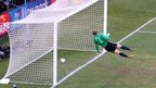 Manuel Neuer of Germany watches the ball bounce over the line from a shot from Frank Lampard