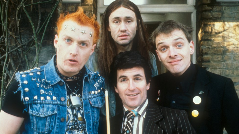 The Young Ones - (l-r) Adrian Edmondson as Vyvyan, Nigel Planer as Neil, Christopher Ryan as Mike and Rik Mayall as Rick