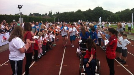 The Queen's Relay Baton at Northgate Sports Centre in Ipswich
