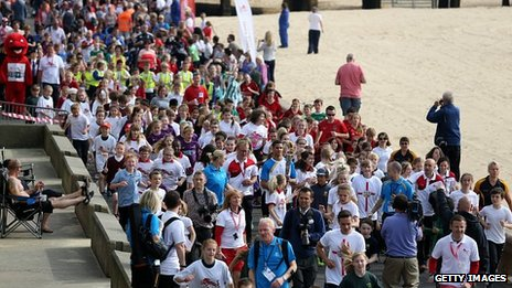 Baton run on Lowestoft seafront