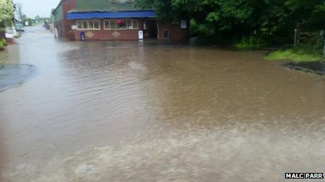 Flooding at Blyton Ice Cream Parlour