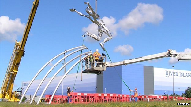 'Leaping Man' statue of Greg Rutherford in Milton Keynes