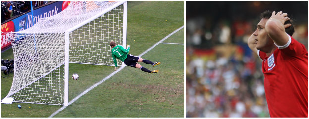 Frank Lampard scores a 'ghost goal' which led to the introduction of goal-line technology