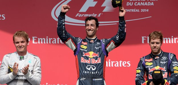 Formula 1's Daniel Ricciardo, Nico Rosberg and Sebastian Vettel celebrate podium finish in Montreal