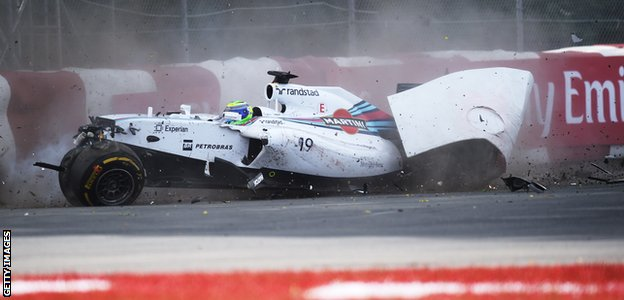 Sergio Perez crashes out at the Canadian Grand Prix